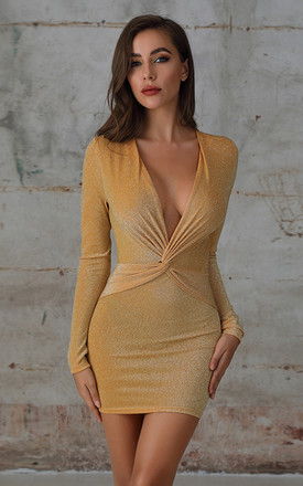 Plunge Twist Glitter Bodycon Dress In Yellow by Miss Floral Product photo