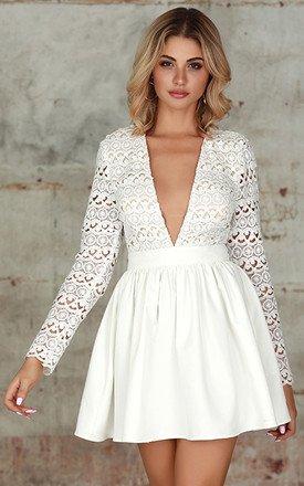 Plunge Guipure Lace Fit & Flare Dress In White by Miss Floral Product photo