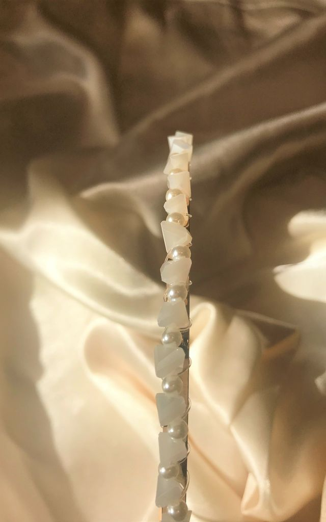 Crystal Stone and Pearl Headband- Ivory by SlayTwins