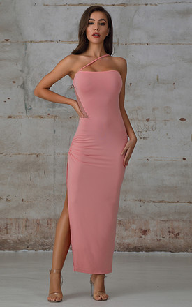 Pink Ruched Split Thigh Maxi Dress With Lace Insert by Miss Floral Product photo