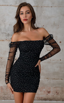 Off Shoulder Sequin Bodycon Mini Dress In Black by Miss Floral Product photo