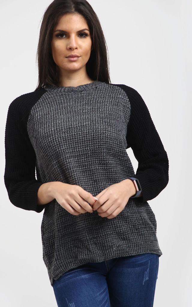 Amelia Baggy Knitted Jumper In Charcoal by Oops Fashion