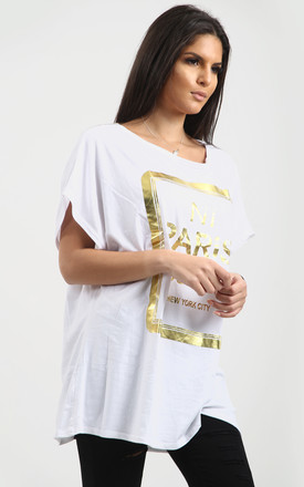 Maisie Gold Foil Paris Slogan Baggy Top In White by Oops Fashion
