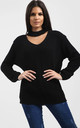Sassiah Choker Neck Jumper In Black by Oops Fashion