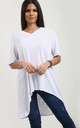 Oversized T-shirt with Dipped Hem in White by Oops Fashion