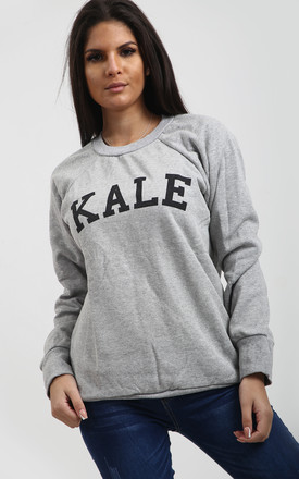 Kale Slogan Print Sweatshirt Dress in Grey by Oops Fashion