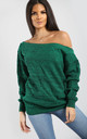 Emma Green Marl Off Shoulder Baggy Knitted Jumper by Oops Fashion