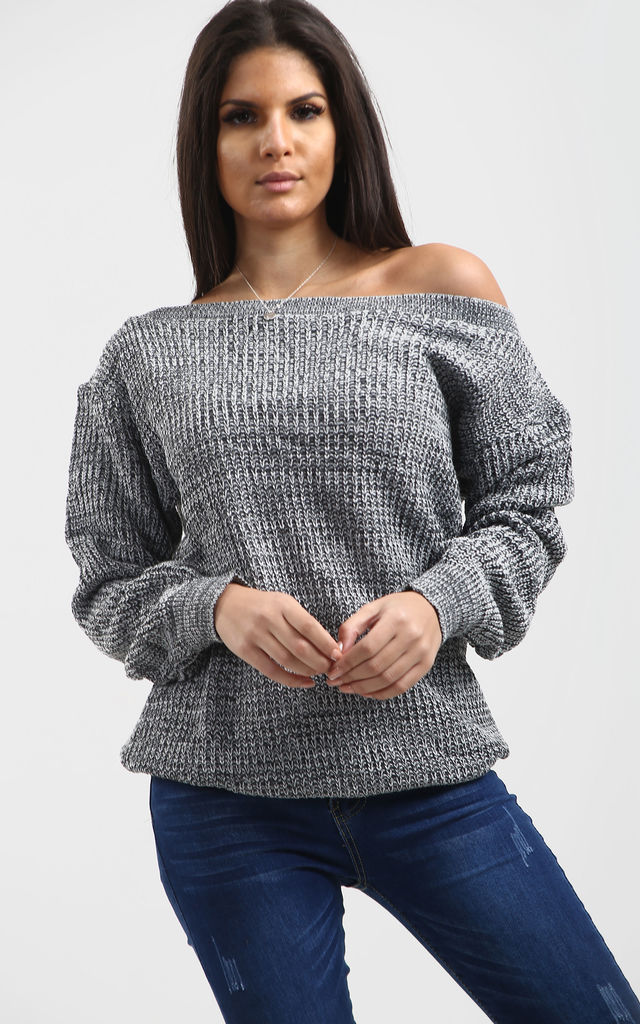 Emma Grey Marl Off Shoulder Baggy Knitted Jumper by Oops Fashion