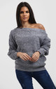 Emma Charcoal Off Shoulder Baggy Knitted Jumper by Oops Fashion