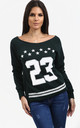 Jasmine Bottle Green Sweatshirt with Number Print by Oops Fashion
