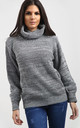 Emily Roll Neck Knitted Jumper In Charcoal Marl by Oops Fashion