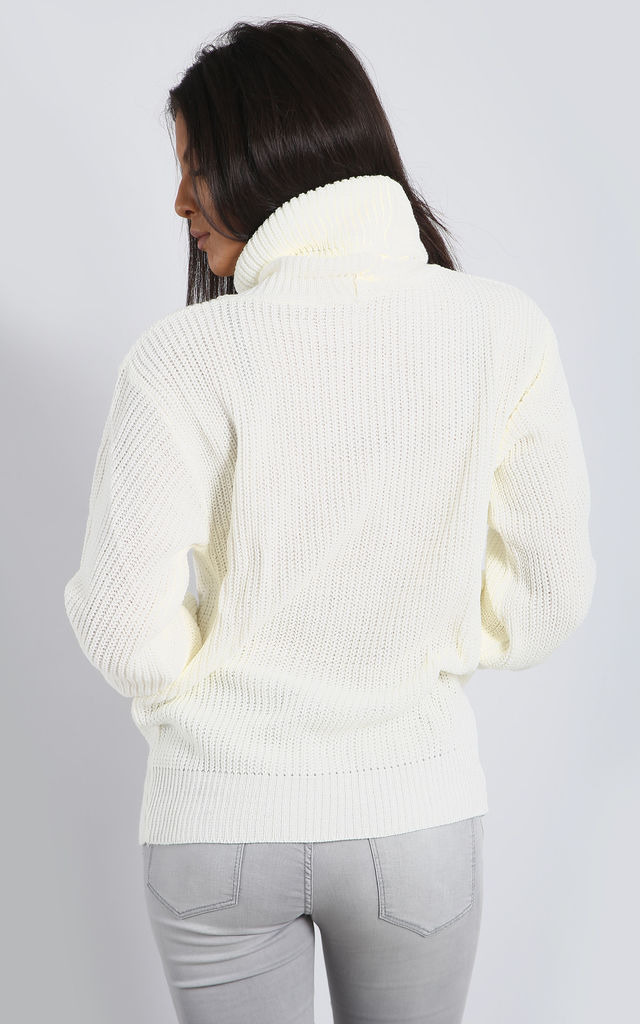 Emily Roll Neck Knitted Jumper In Cream by Oops Fashion