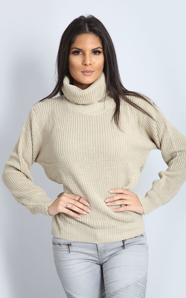 Emily Roll Neck Knitted Jumper In Stone by Oops Fashion