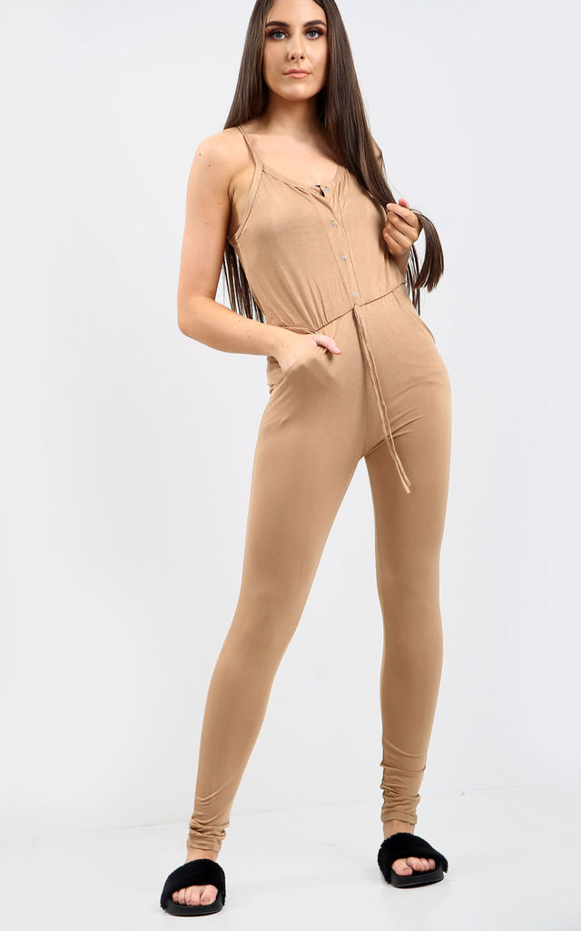 Kerry Camel Strappy Jersey Jumpsuit with Button Front by Oops Fashion
