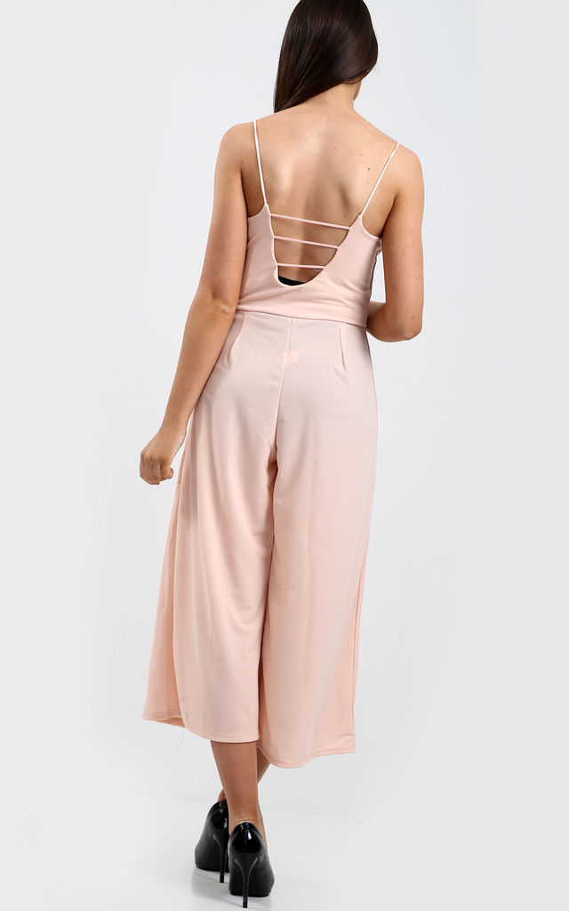 Strappy Cropped Culotte Jumpsuit in Peach by Oops Fashion