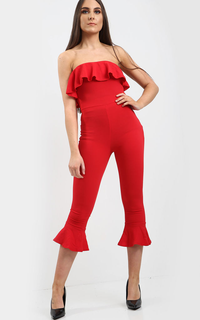 Strapless Frilly Cropped Jumpsuit in Red by Oops Fashion