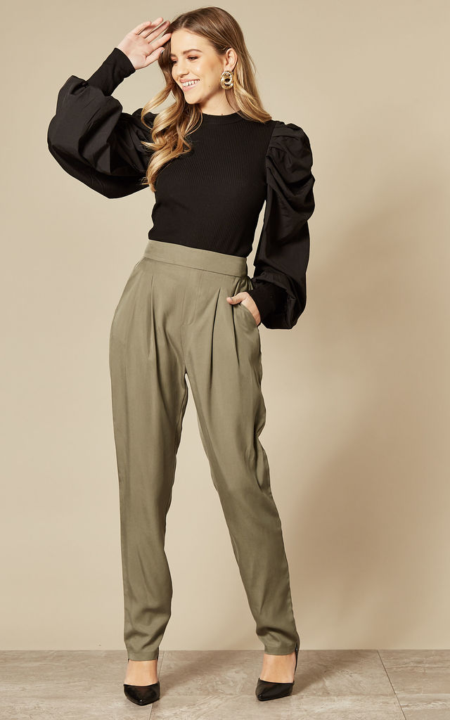 Tapered Trousers in Khaki Green by ANGELEYE