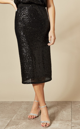 Sequin Midi Skirt in Black by Skirt and Stiletto