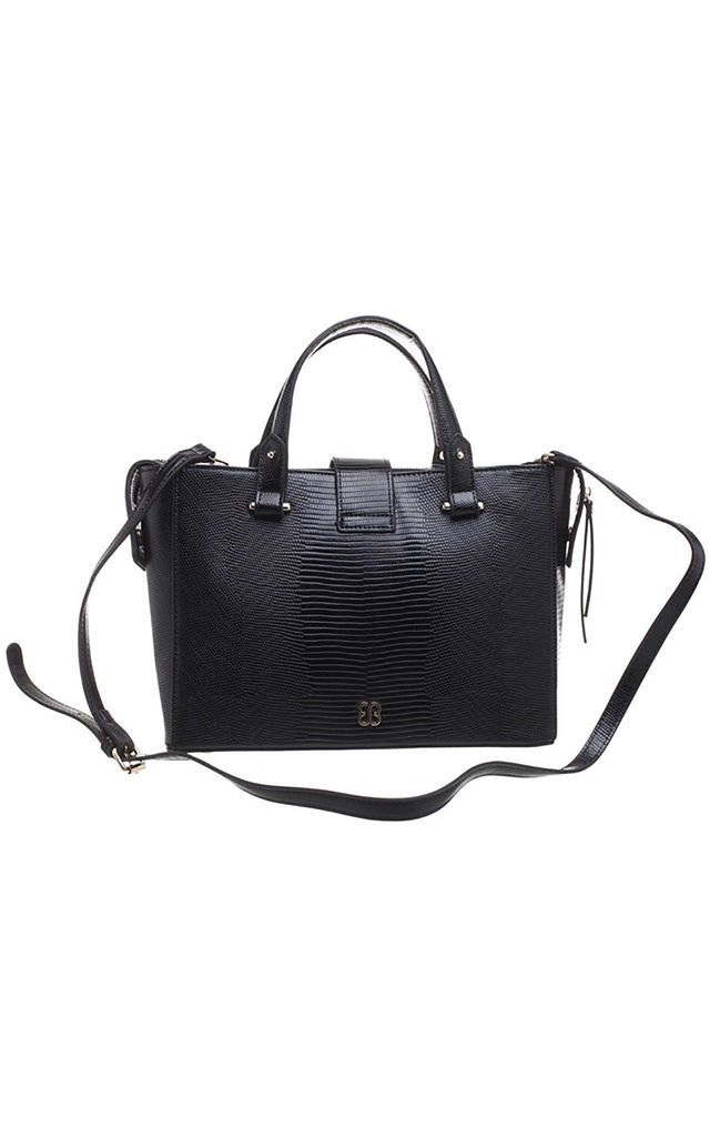WOVEN BUCKLE TOTE BAG IN BLACK/TWO TONE by BESSIE LONDON