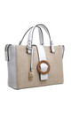WOVEN BUCKLE TOTE BAG IN WHITE/TWO TONE by BESSIE LONDON