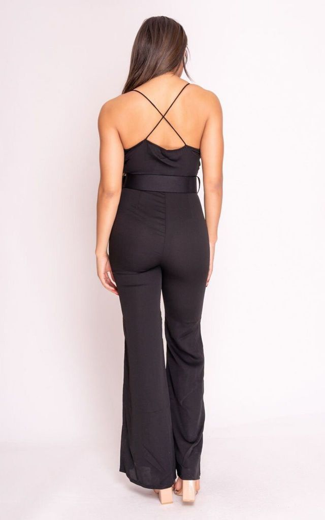 Black Flared Leg Jumpsuit with Plunge Neck by Hachu