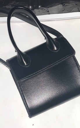 Black Mini Bag with Handle & Long Strap by Unscripted