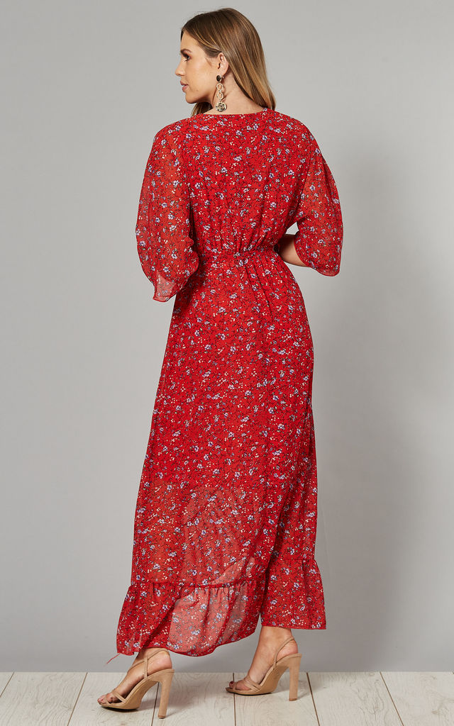 Wrap Front Maxi Dress in Red Ditsy Floral Print by Mela London