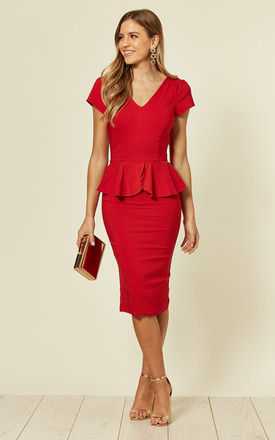 Maven Red Midi Pencil Dress with Peplum by Collectif Clothing