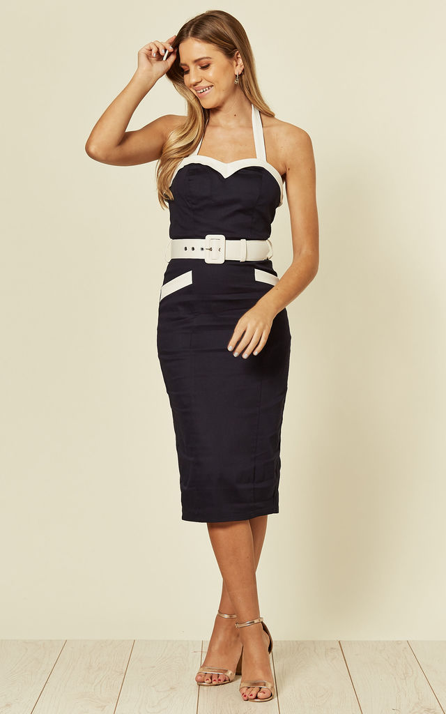 Georgie Halterneck Pencil Navy Day Dress With Waist Belt by Collectif Clothing