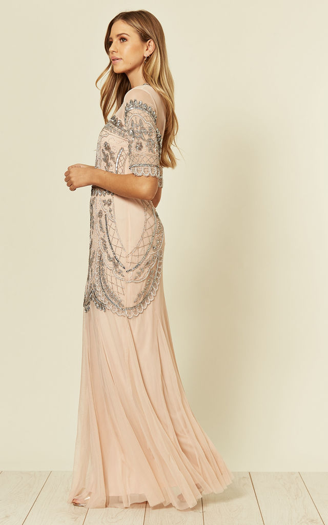 Hilda Embellished Maxi Dress with Mesh in Pink by Frock & Frill
