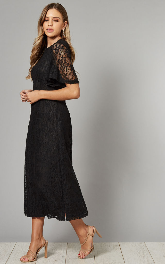 Floral Lace Midi Dress in Black by Mela London