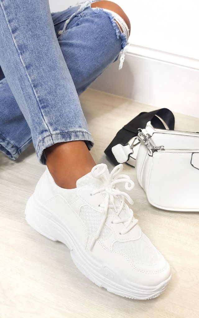 Beck Mesh Chunky Trainers in White by IKRUSH