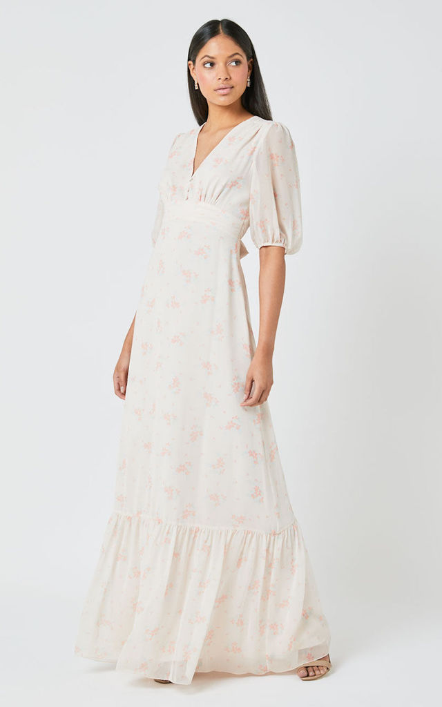 Mathilda Bridesmaid Maxi Dress in Cream Floral Print by Maids to Measure
