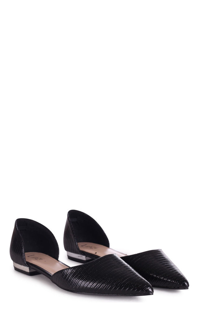 Nina Black Lizard Pumps With Pointed Toe by Linzi