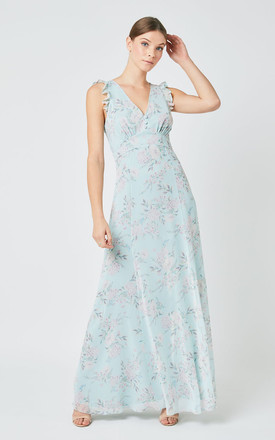 Dahlia Bridesmaid Maxi Dress In Pale Blue Floral Print by Maids to Measure Product photo