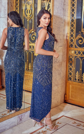 FREYAH NAVY BEADED SPLIT DRESS by Sistaglam