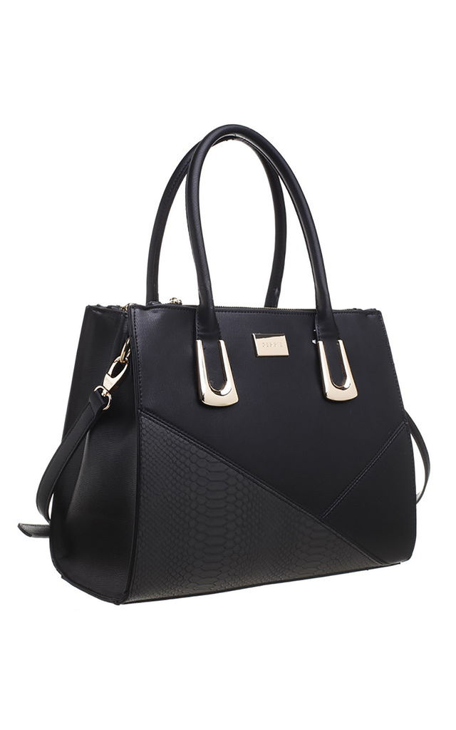 CROC PATCHWORK TOTE BAG IN BLACK by BESSIE LONDON