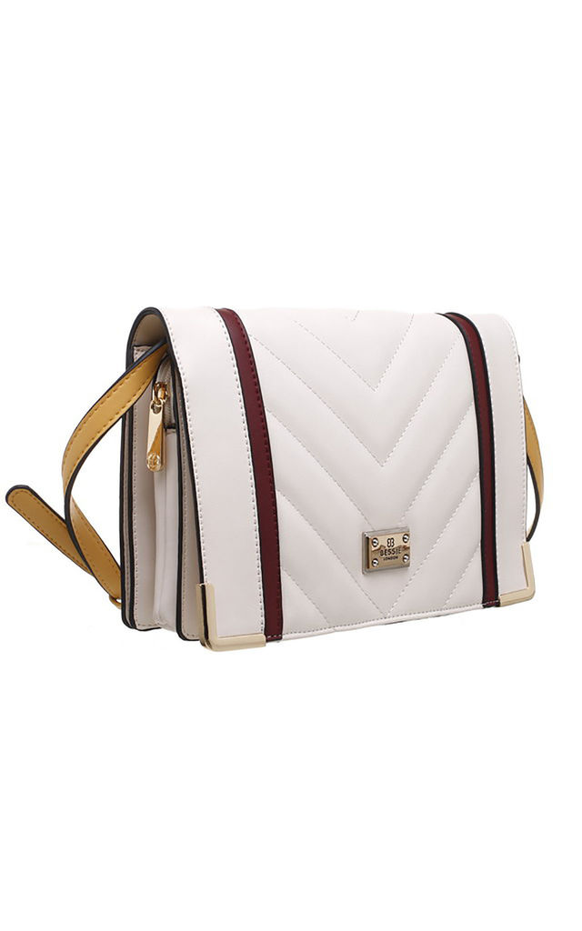 QUILTED FLAP OVER BAG IN BEIGE by BESSIE LONDON