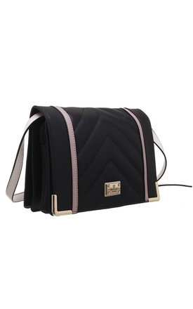QUILTED FLAP OVER BAG IN BLACK by BESSIE LONDON