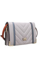 QUILTED FLAP OVER BAG IN GREY by BESSIE LONDON