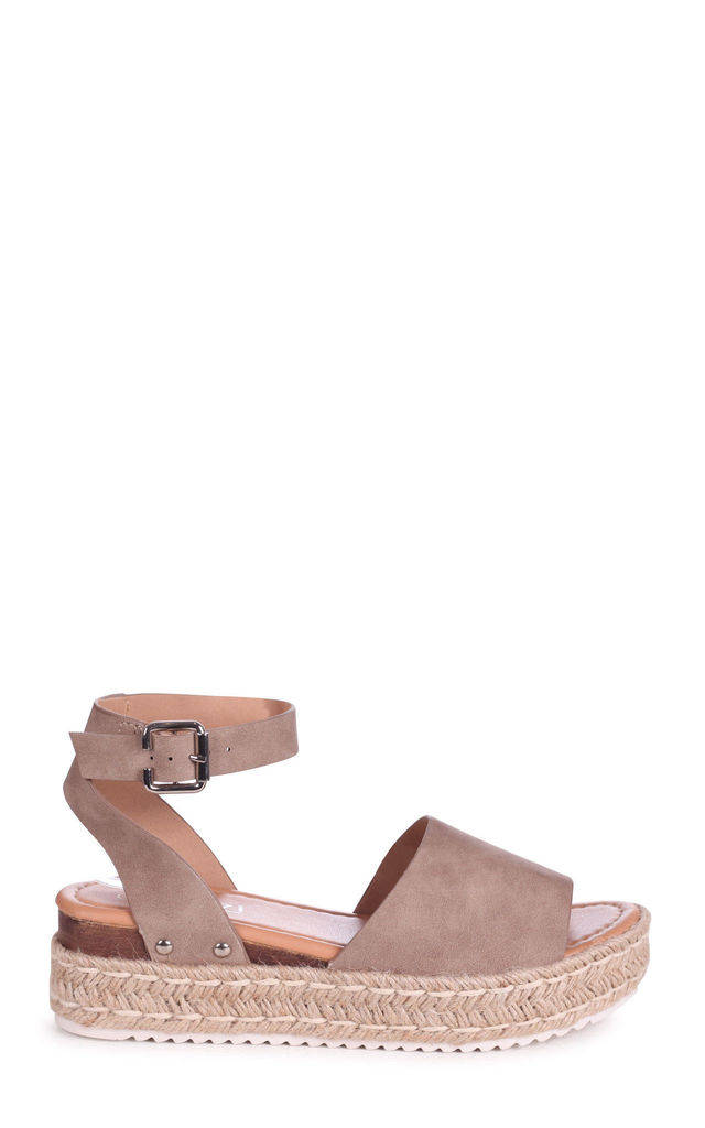 Moonlight Taupe Espadrille Style Flatforms by Linzi