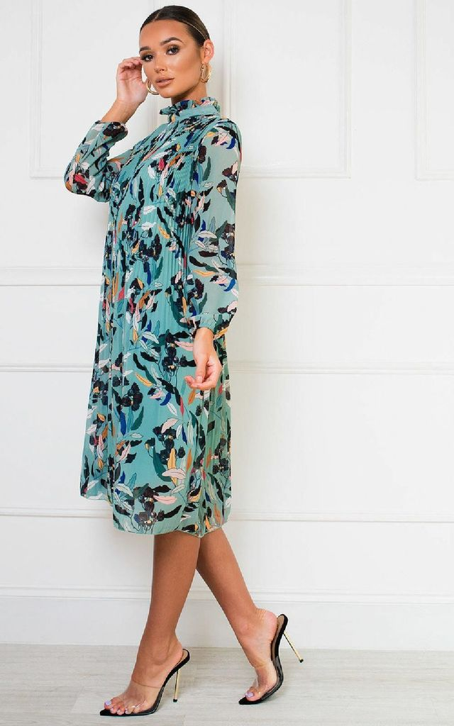 Lina High Neck Midi Shift Dress in Jade Green Floral Print by IKRUSH