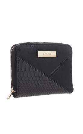 SMALL CROC PATCHWORK WALLET IN BLACK by BESSIE LONDON
