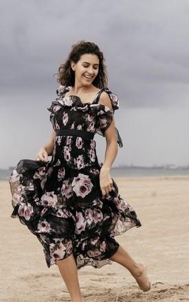 Maxi Dress In Black Cherry Blossom Print by Anne Louise Boutique Product photo