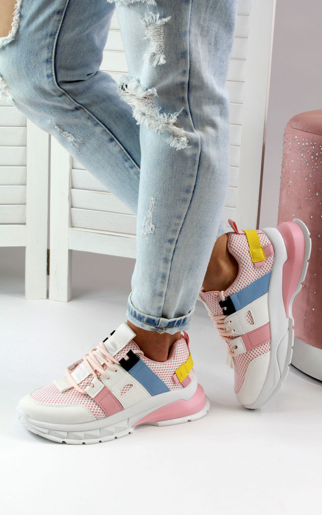 Kimi Pink Chunky Lace Up Comfy Trainers by Larena Fashion