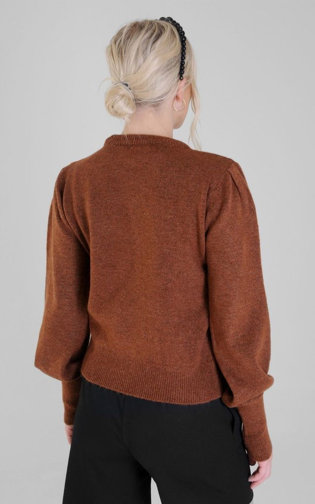 Brown Round Neck Knit Top with Pleated Shoulder by MQUISE