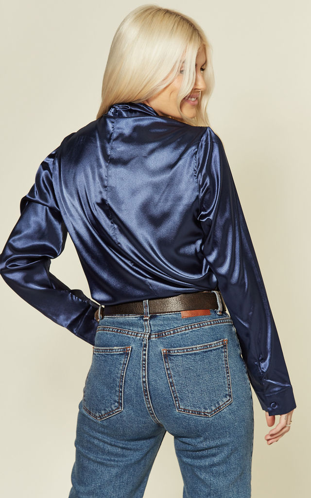Navy satin pussybow blouse by UNIQUE21