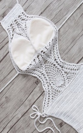 White Crochet Monokini One Piece by GIGILAND