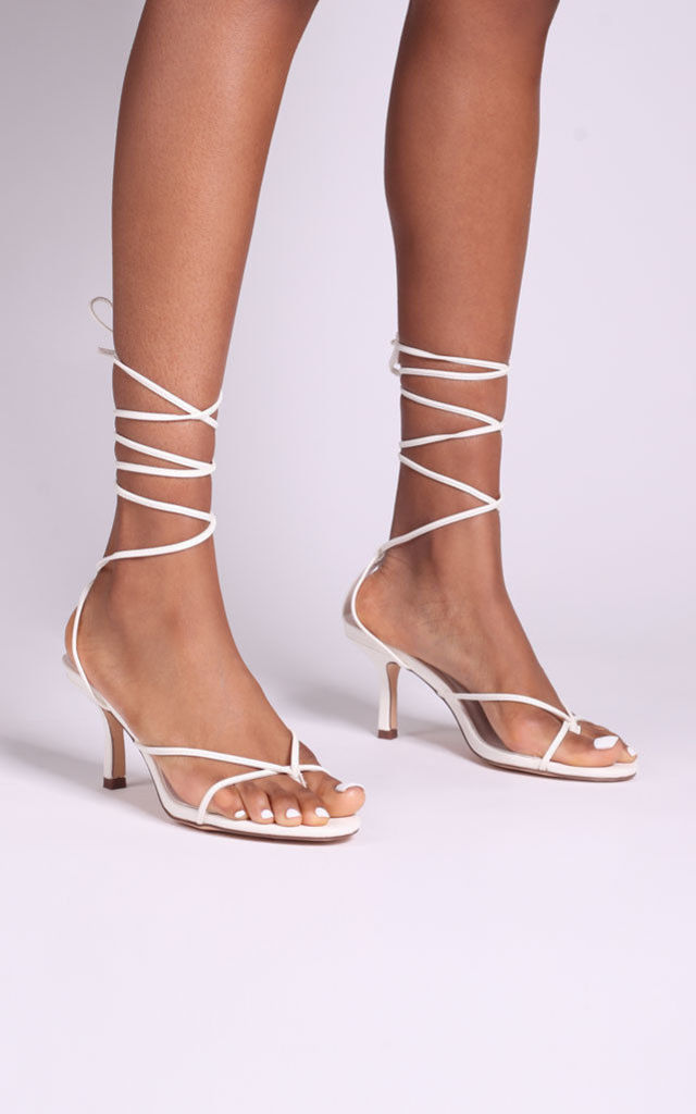 Love Affair White Lace Up Strappy Stiletto Heels with Toe Post by Linzi