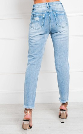 Lala Distressed Straight Leg Jeans by IKRUSH
